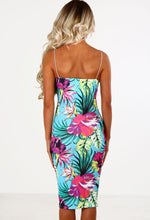Ibiza Calling Turquoise Multi Tropical Print Midi Dress