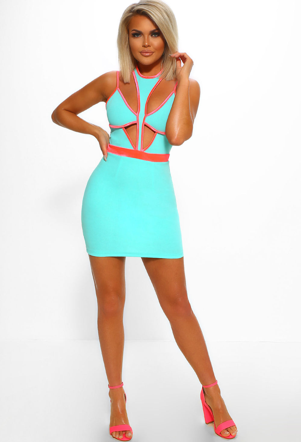 Ibiza Crush Turquoise Halterneck Cut Out Bodycon Mini Dress