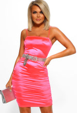 Neon Pink Satin Ruched Mini Dress