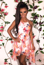 Estella Multicolour Floral Floaty Dip Hem Dress