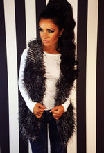 Exquisite Grey Stripe Faux Fur Gilet