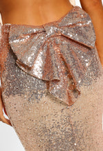 Rose Gold Sequin Backless Maxi Dress - Bow detail closeup