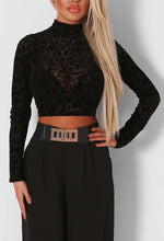 Impulse Black Mesh and Velvet Print Crop Top