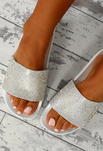 In A Flash White Diamante Sliders
