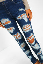 Dark Blue Distressed Ripped Skinny Jeans - Close Up View