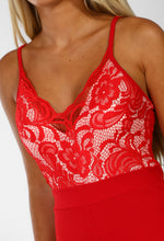 Red Lace Wide Leg Jumpsuit - Detail