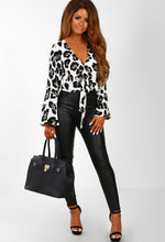 In The Jungle White Leopard Print Tie Front Wrap Crop Top