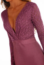 In The Zone Plum Lace Long Sleeve Bandage Mini Dress
