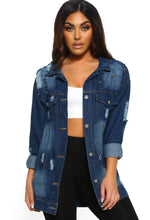 Distressed Studded Oversized Denim Jacket