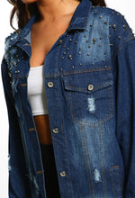 In Trouble Blue Distressed Studded Oversized Denim Jacket