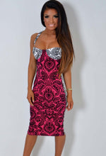 Infuse Pink and White Baroque Print Bodycon Dress