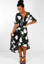 Innocent Eyes Black Multi Floral Print Wrap Dress