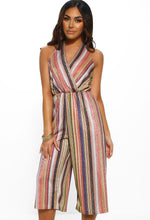 Stripe Metallic Halterneck Jumpsuit
