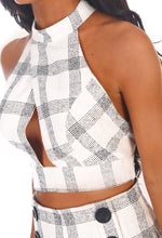 It's My Life Cream Check Cut Out Crop Top
