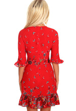Italian Rose Red Floral Frill Trim Tea Dress