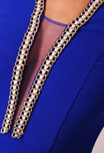 Jewel Blue Gold Chain Mini Dress