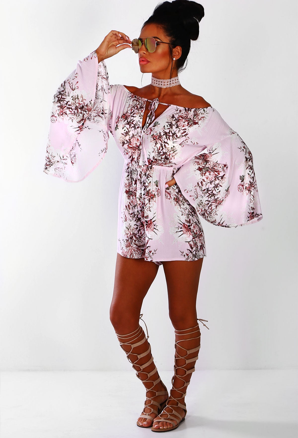 b14ea7450809 Judy Pink Floral Bardot Long Sleeve Playsuit – Pink Boutique UK