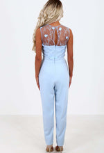 Gardenia Baby Blue Mesh Embroidered Jumpsuit