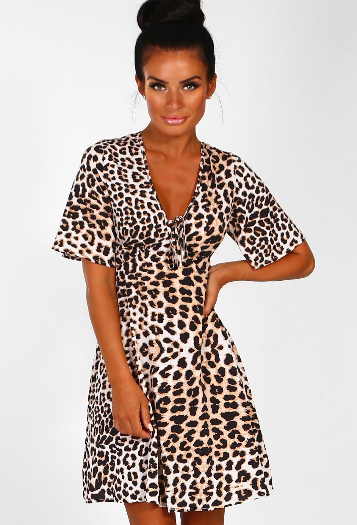 Jungle Baby Brown Leopard Print Tea Dress – Pink Boutique UK b252fcb54