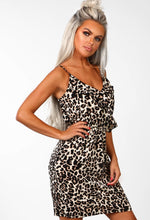 Nude Leopard Print Frill Front Mini Dress - Front View