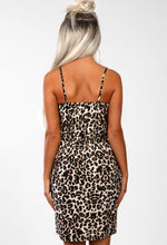 Jungle Hun Nude Leopard Print Frill Front Mini Dress