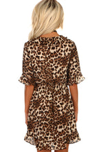 Jungle Jane Leopard Print Frill Wrap Mini Dress