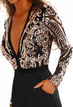 Just Famous Black and Rose Gold Sequin Long Sleeve Jumpsuit