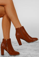 Kallie Tan Zip Detail Block Heel Ankle Boots