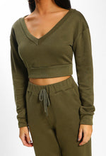 Keep It Sassy Khaki Cropped Lounge Set