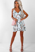 Keeping Cute Light Blue Floral Frill Wrap Mini Dress