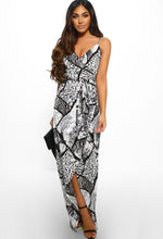 Animal Print Wrap Maxi Dress - Full Front View with Accessory