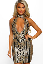 Black Sequin Choker Dress