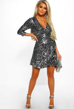 Metallic Lurex Zebra Print Wrap Dress - Full Front View