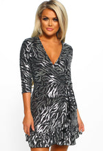 Metallic Lurex Zebra Print Wrap Dress - Front View