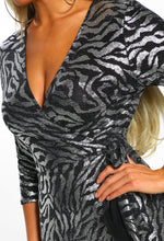 Metallic Lurex Zebra Print Wrap Dress - Detail Close up