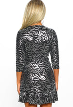 Metallic Lurex Zebra Print Wrap Dress - Back View