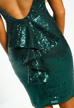 Green Sequin Frill Back Mini Dress - Frill Detail Closeup