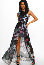 Floral Print One Shoulder Maxi Dress - Full Front View