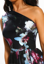 Floral Print One Shoulder Maxi Dress - Detail Closeup