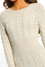 Kiss & Make Up Stone Cable Knit Jumper Dress