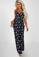 Navy Floral Split Leg Jumpsuit - Front with Accessory