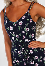 Navy Floral Split Leg Jumpsuit - Detail