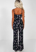 Navy Floral Split Leg Jumpsuit - Back