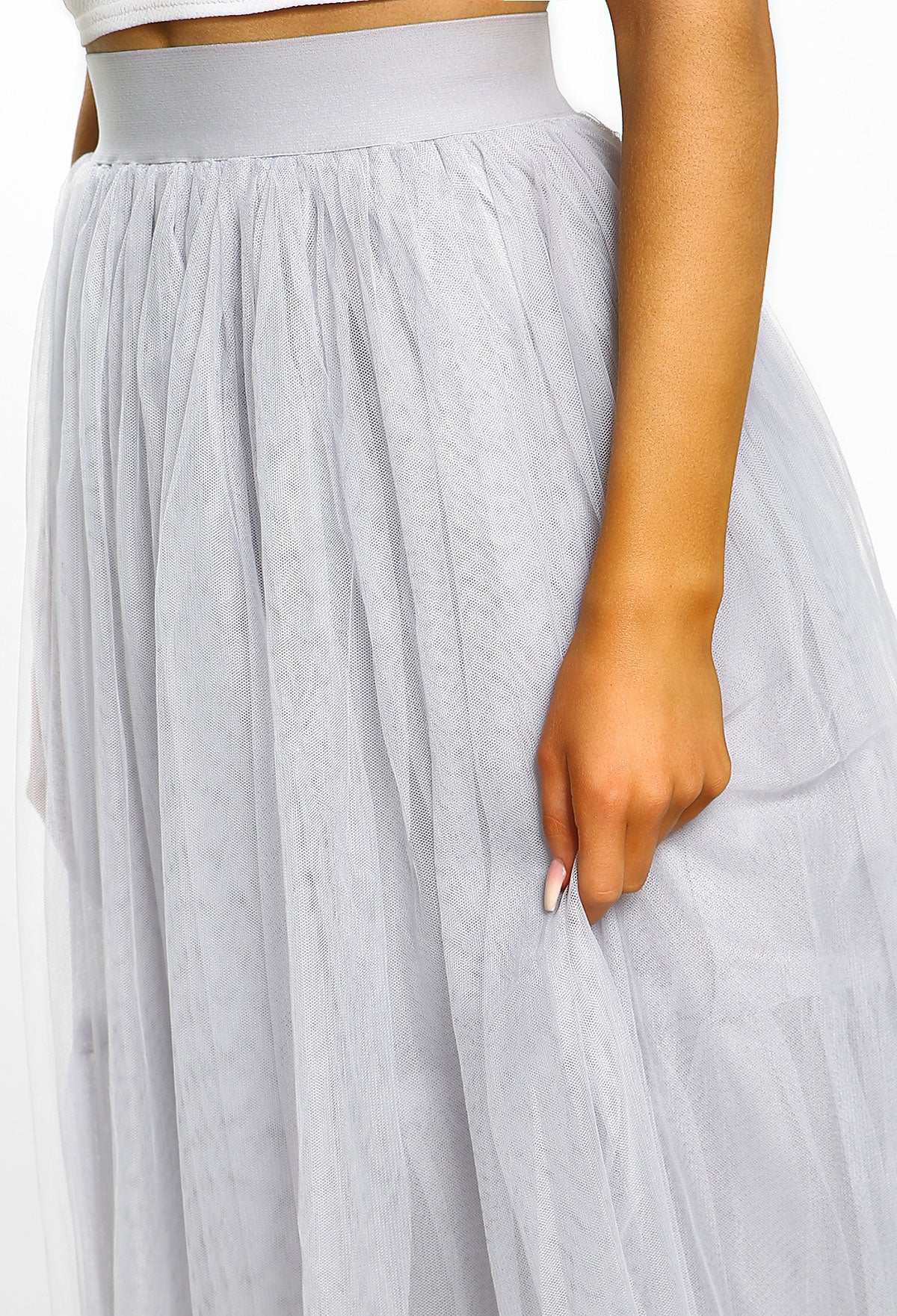 f85d326b8241 Kittie Grey Tulle Midi Skirt – Pink Boutique UK
