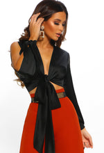 Black Satin Split Sleeve Wrap Crop Top