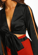 Black Satin Split Sleeve Wrap Crop Top - Close up view