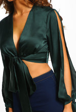 Knot Together Green Satin Split Sleeve Wrap Crop Top