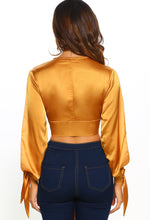 Knot Together Mustard Satin Split Sleeve Wrap Crop Top