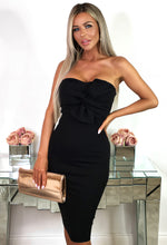 Black Twist Front Strapless Midi Dress - Front View with Background