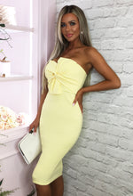 Lemon Twist Front Strapless Midi Dress